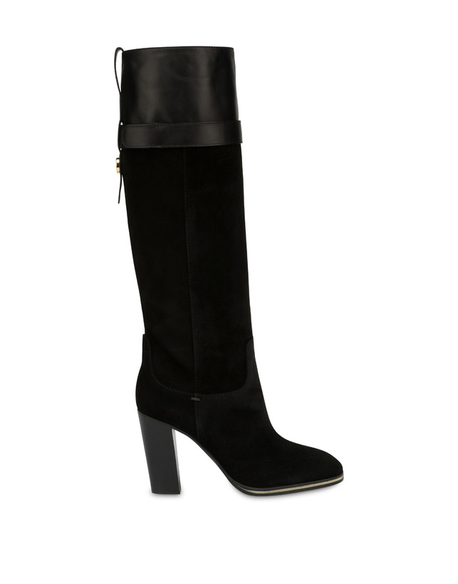 To-the-knee boots in leather and Marne calf leather Photo 1