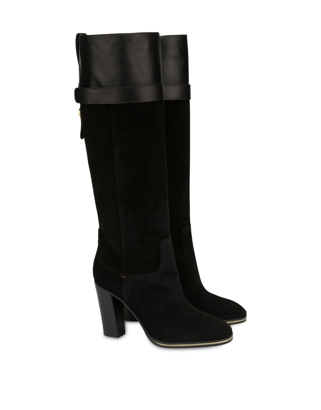 To-the-knee boots in leather and Marne calf leather Photo 2
