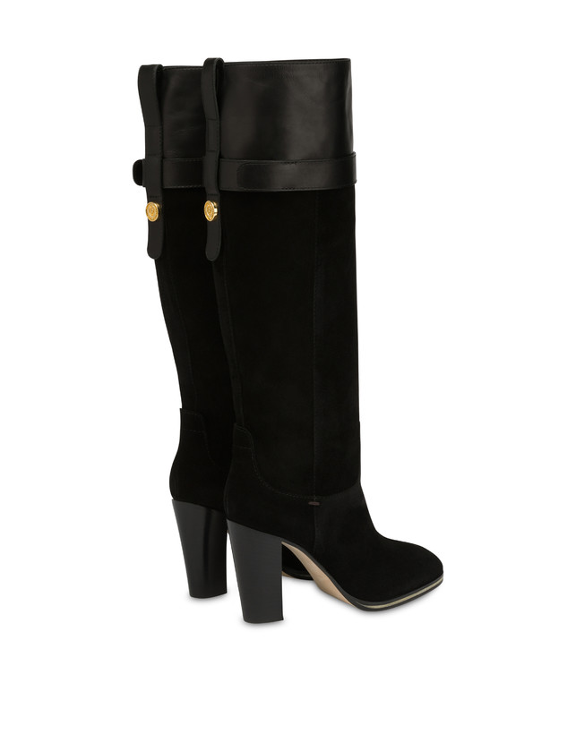 To-the-knee boots in leather and Marne calf leather Photo 3