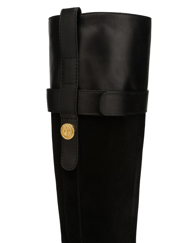 To-the-knee boots in leather and Marne calf leather Photo 4