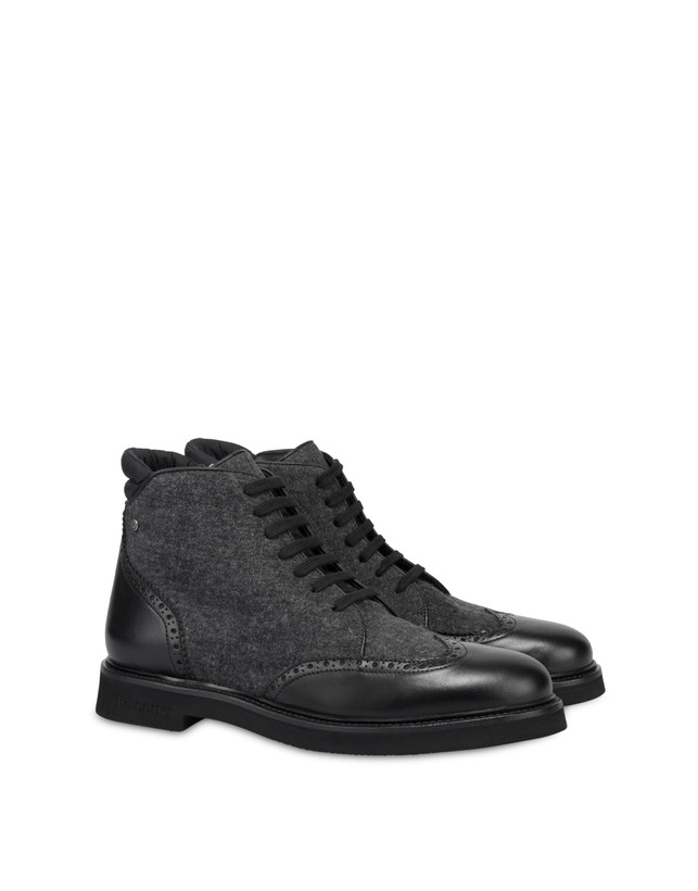 Lace-up ankle boots in wool and Wien calf leather Photo 2
