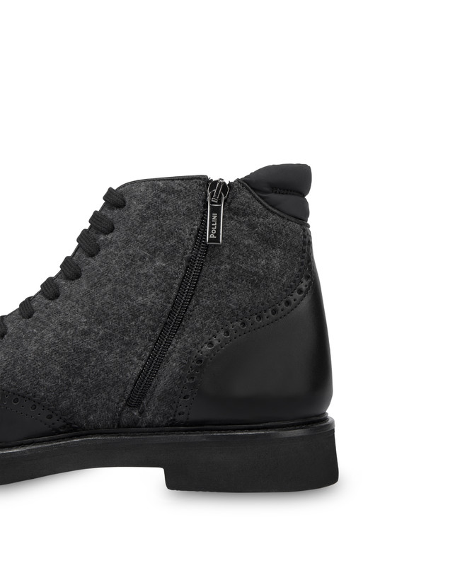 Lace-up ankle boots in wool and Wien calf leather Photo 5