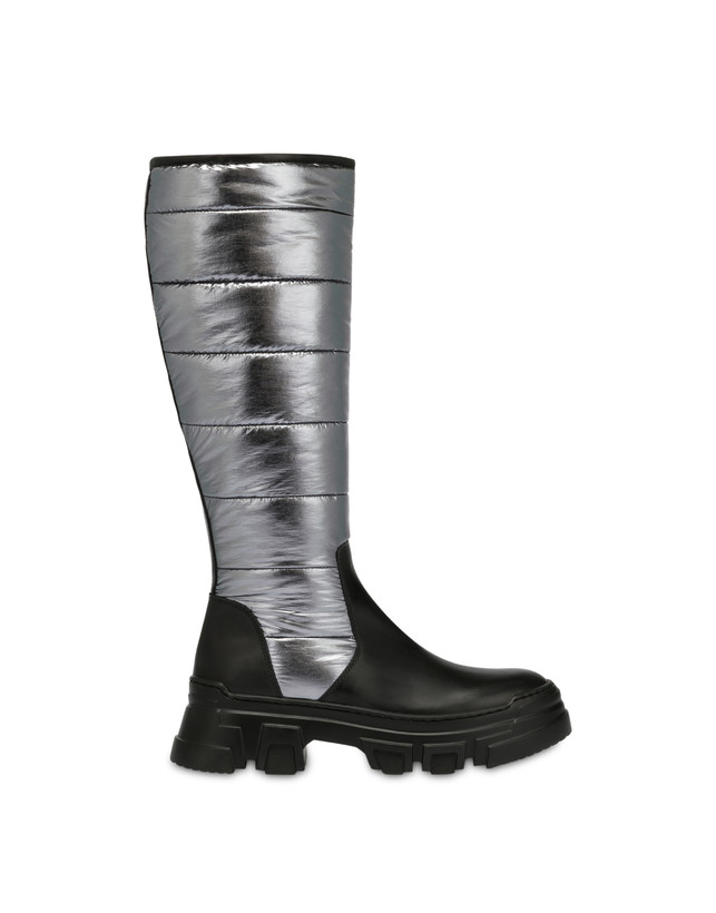 Boots in padded nylon and Shiny Tank calf leather Photo 1