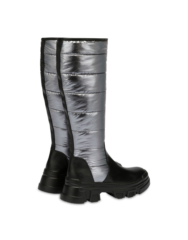 Boots in padded nylon and Shiny Tank calf leather Photo 3