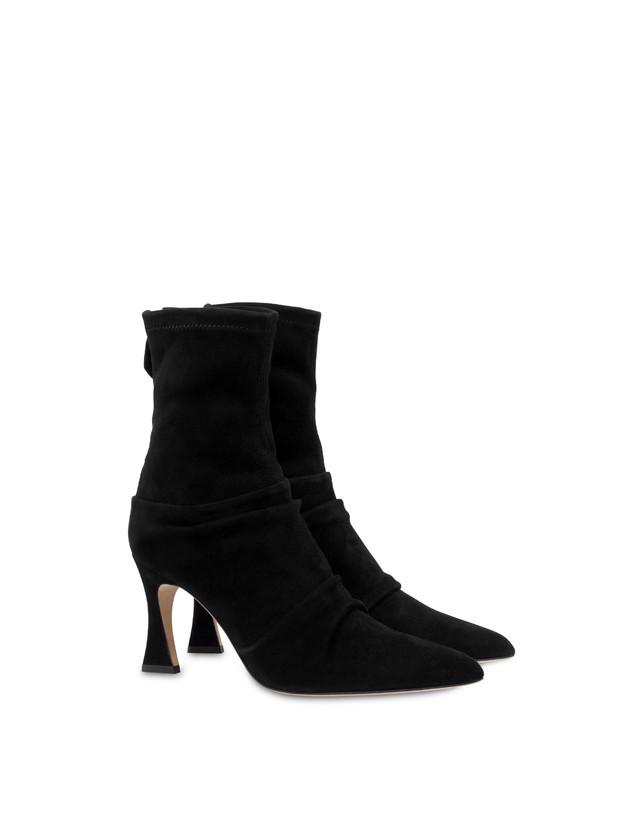 Plissé stretch suede ankle boots Photo 2