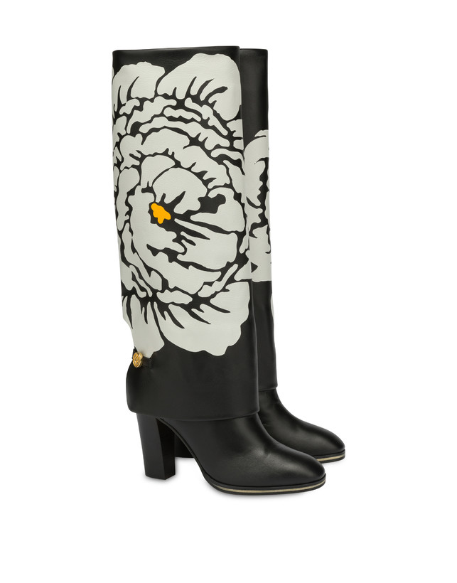 To-the-knee boots in Anemone calf leather Photo 2