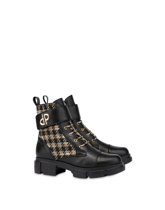 Combat boot in calfskin and houndstooth Twin P Manish Photo 2