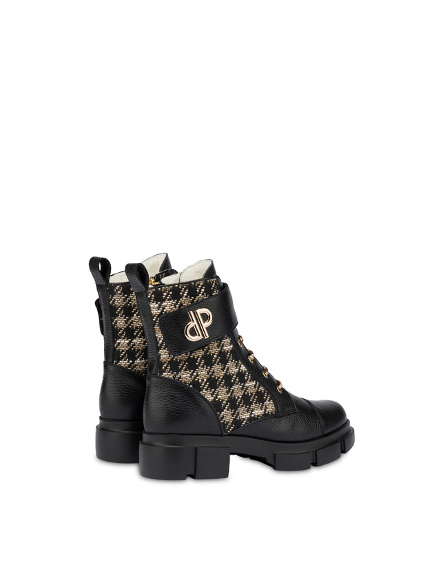 Combat boot in calfskin and houndstooth Twin P Manish Photo 3