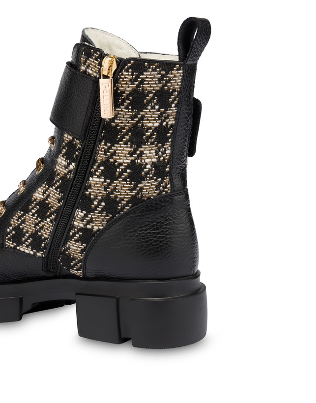 Combat boot in calfskin and houndstooth Twin P Manish Photo 4