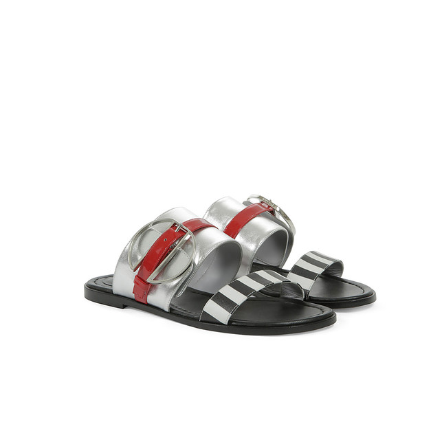 Sandals Black-white/silver/poppy