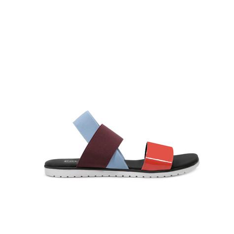 Sandali Corallo/bordeaux/cielo
