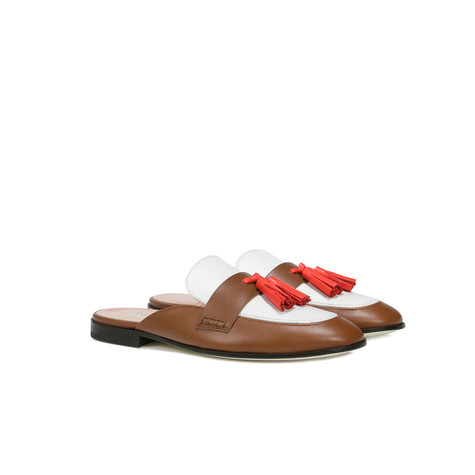 Mule Cuoio/corallo/bianco