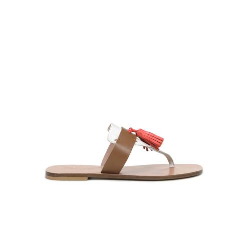 Sandali Cuoio/corallo/bianco