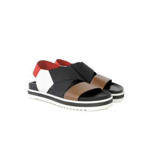 Sandali Cuoio/bianco/nero/rosso