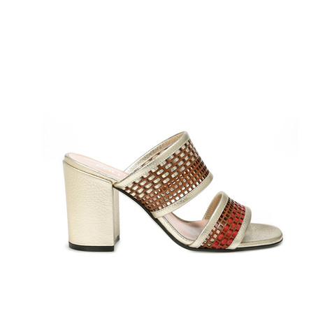 Sandali Cuoio-rosso-platino/platino