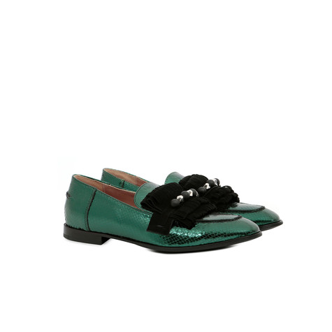 Loafers Emerald green/black