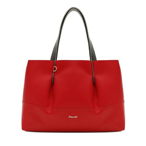Shopping bag Red-silver/grey