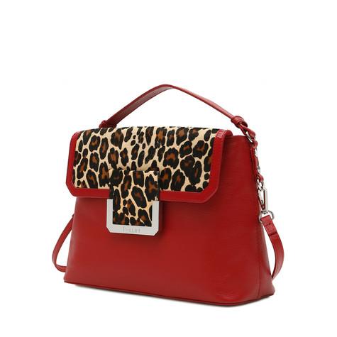 Handbag Red/red/leopard