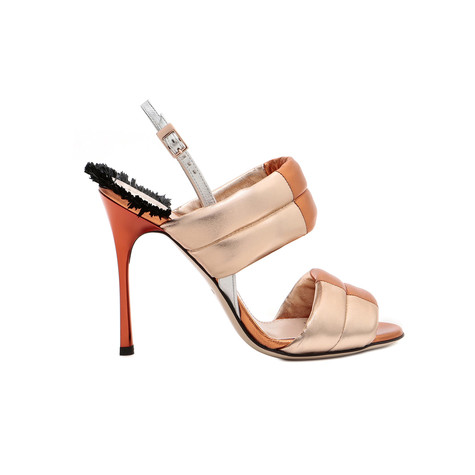 Sandali Argento/nude/arancio