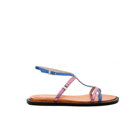 Sandali Bluette/fuxia/arancio