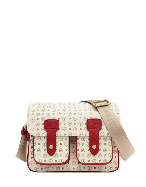 Messenger bag Ivory/laky red