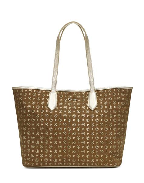 Heritage Logo Soft shopping bag MARRON GLACE/GOLD