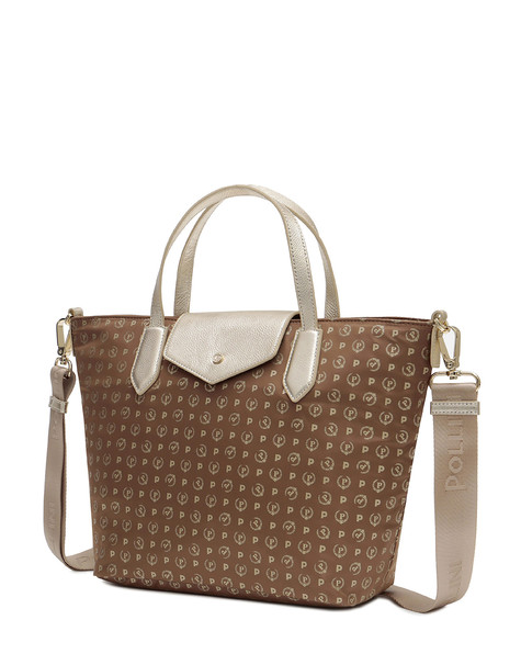 Shopping bag Marron glace/gold