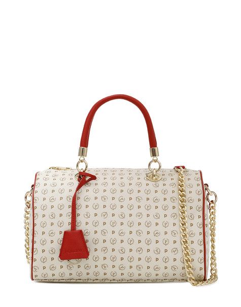 Boston bag Ivory/laky red