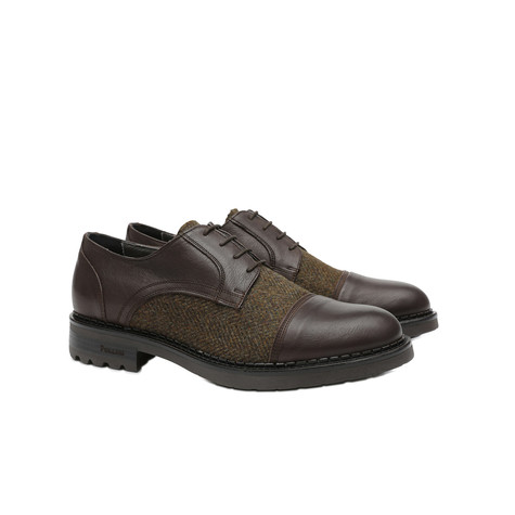 Derby shoes Dark brown/military green