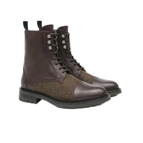 Ankle boots Dark brown/military green