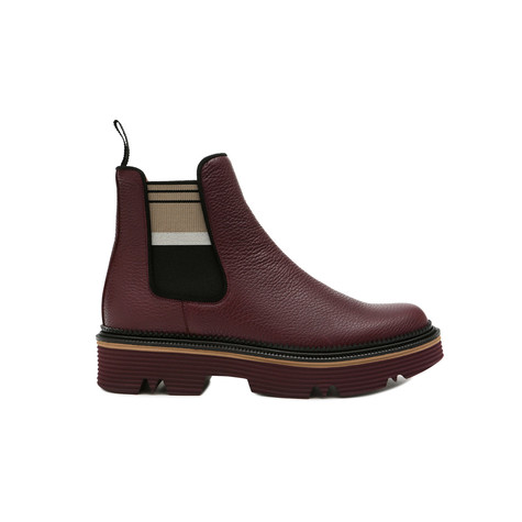 Ankle boots Burgundy/beige-black