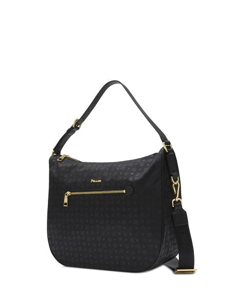 Heritage Logo Soft shoulder bag BLACK PRINT BLACK/BLACK