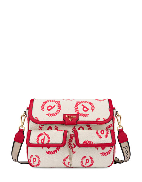 Shoulder bag Ecru/red