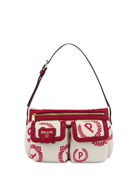 Hobo bag Ecru/red