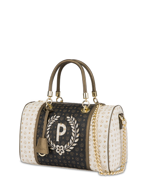 Boston bag Ivory/black/bronze