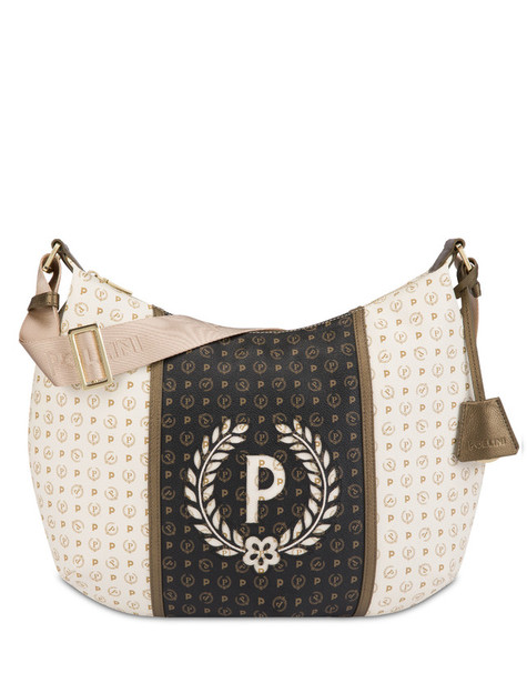 Hobo bag Ivory/black/bronze