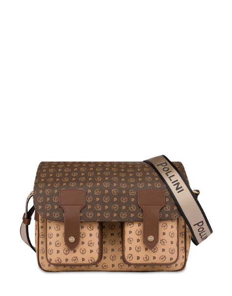 Heritage bicolor multi pocket shoulder bag BROWN/CREAM/BROWN