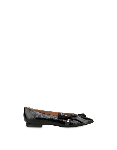 Ballerine in naplak Ribbon Logo NERO