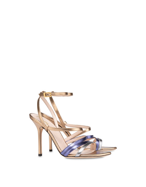 Laminated nappa leather Evening Sandals BRONZE/VIOLET/STEEL