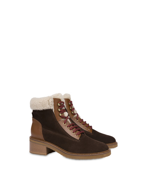 Frost Line suede leather and calfskin ankle boots COFFEE/BURNED/NATURAL