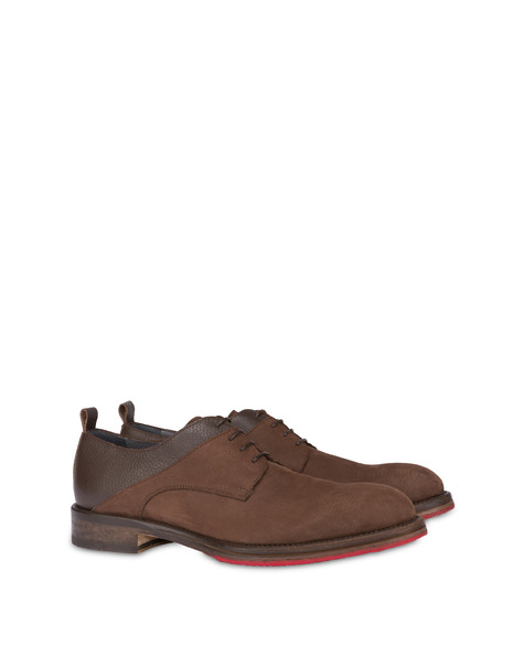 Derby in moose print calfskin and Mezzadro nubuck COFFEE/COFFEE