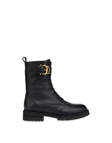 Buckle Notes combat boots in tumbled calfskin BLACK