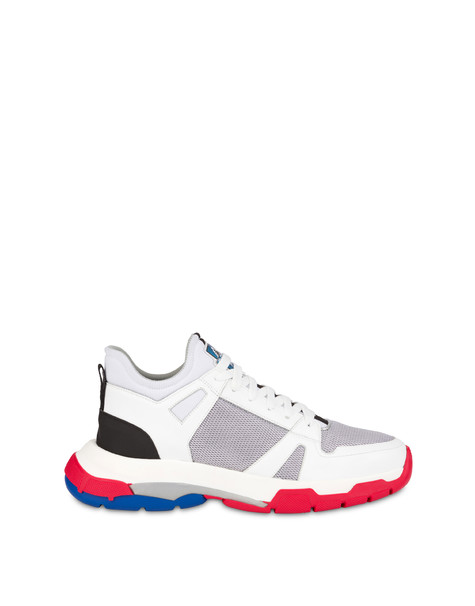 Sneakers in technical fabrics and Sfera leather SILVER/WHITE/WHITE/BLACK