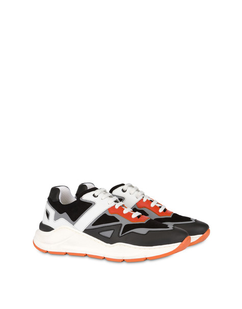 New Kite split leather and calfskin sneakers BLACK/WHITE/BLACK/ORANGE