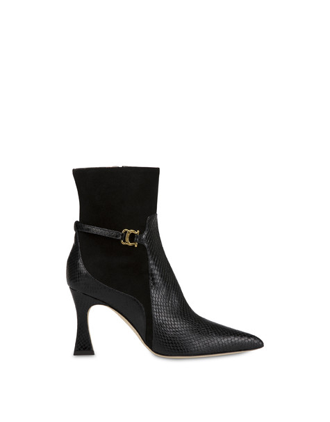 Arco ankle boots in split leather and crosta suede with python print BLACK/BLACK