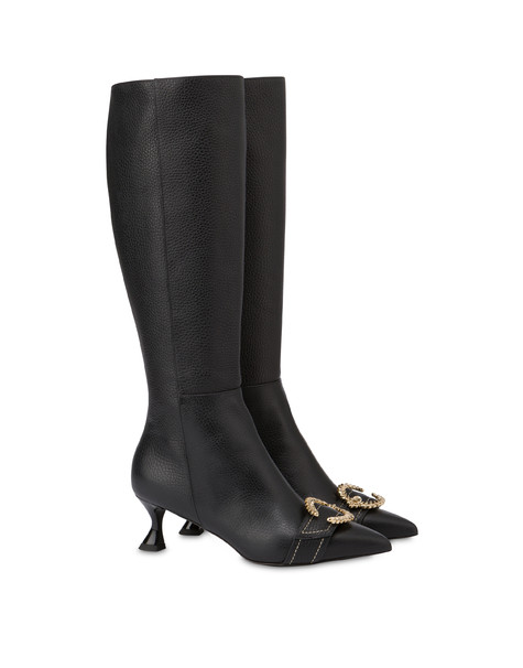 Breakfast At Tiffany's calfskin boots BLACK