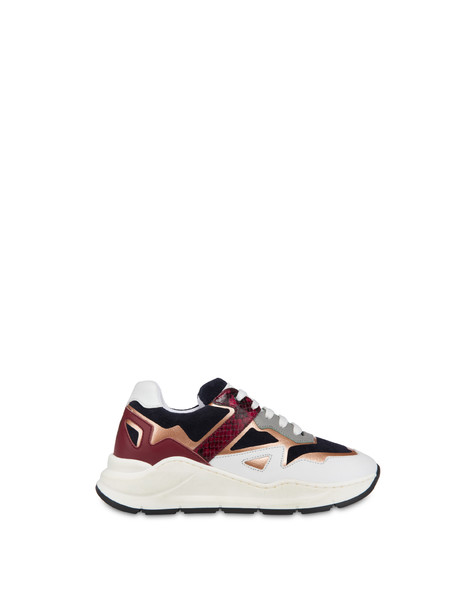 Sneakers in crosta e pelle New Kite Oceano/brunello/bianco/nebbia/mosto