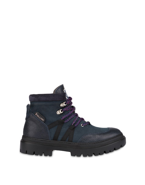 Mountaineer combat boots in kidskin and nubuck OCEAN/OCEAN/FOG