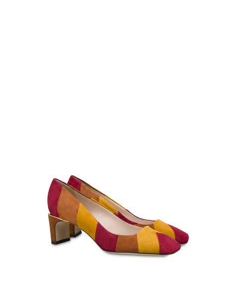 Majolica crosta suede décolleté RED/MUSTARD/BURNED
