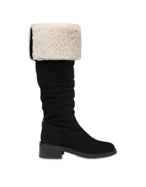 Frost Line suede leather boots BLACK/NATURAL